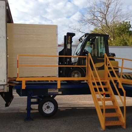 M35-901225 Adapt-A-Ramp with a 12' level-off and 25' incline section. Equipped with hand rails and side ladder