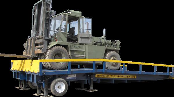 military truck on ramp